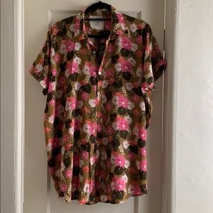 Acacia 100% silk Mombasa shirt in Lei Day NWT